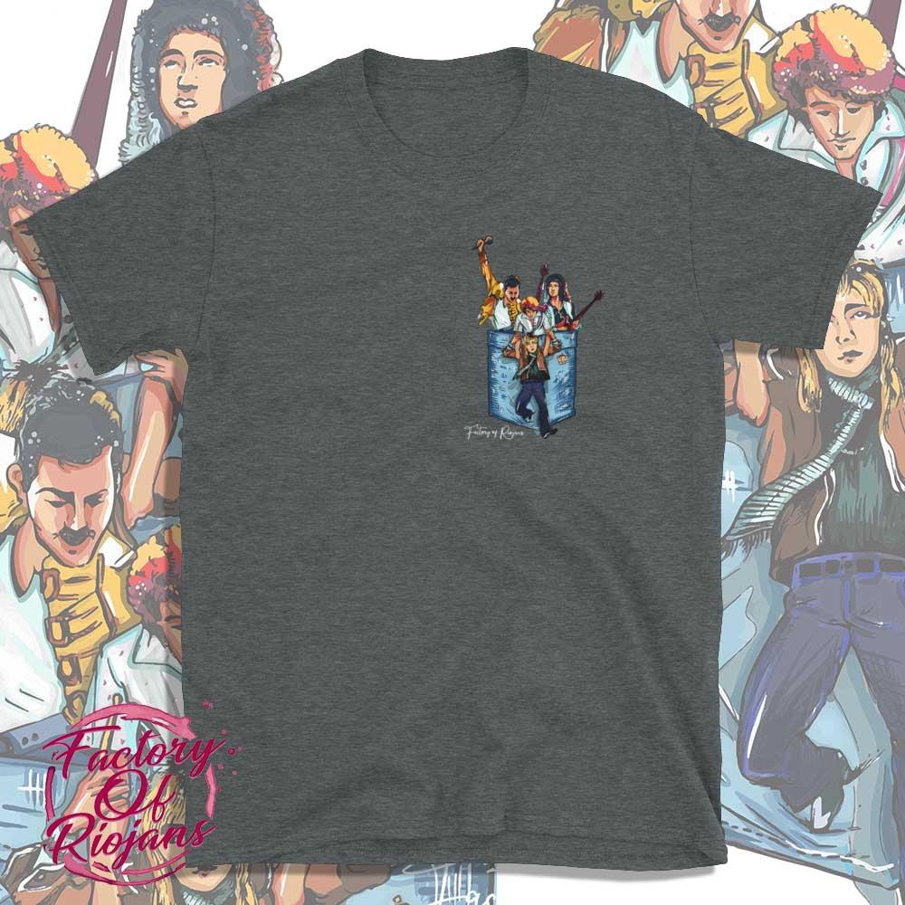Camiseta gris oscuro del grupo Queen
