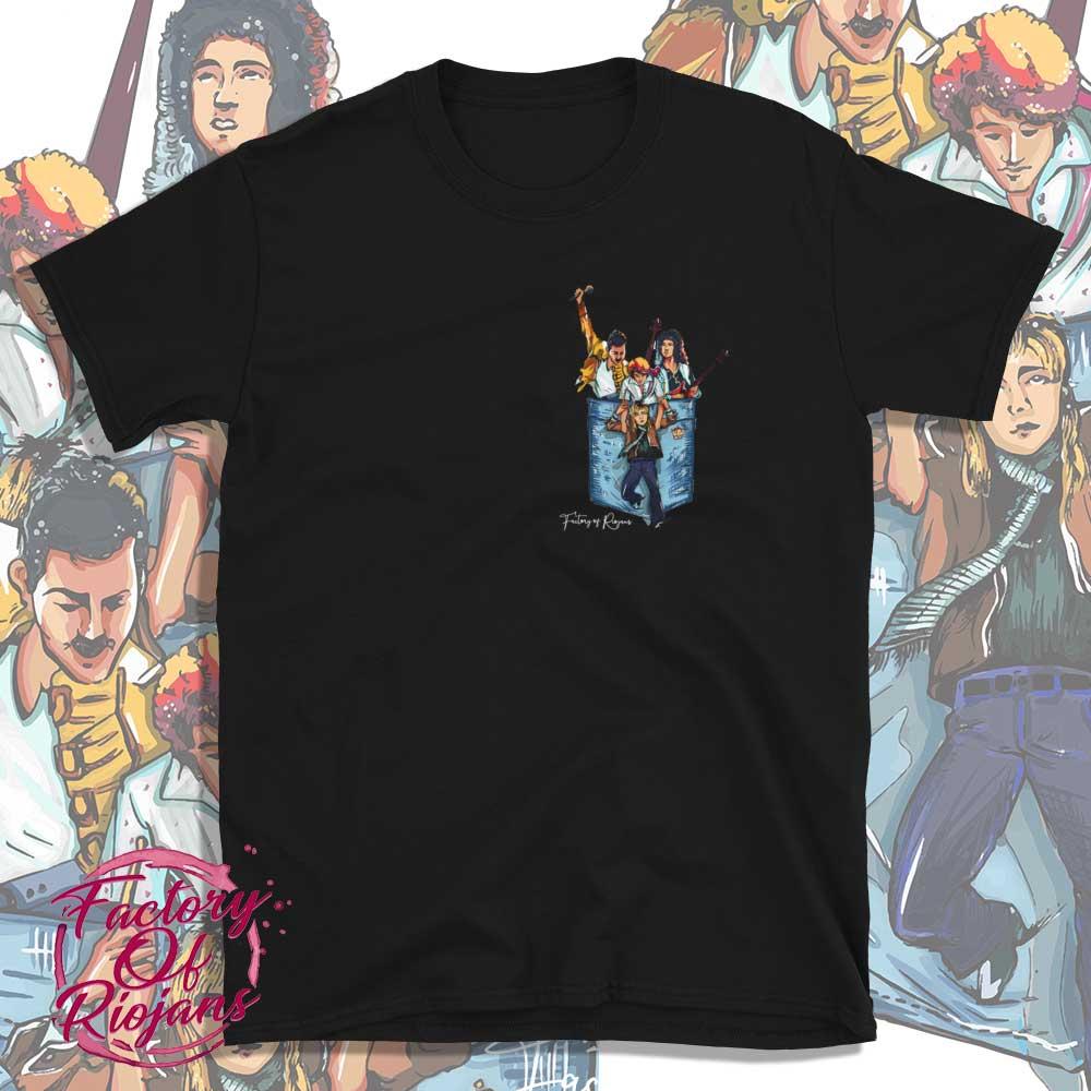 Camiseta negra grupo Queen con bolsillo