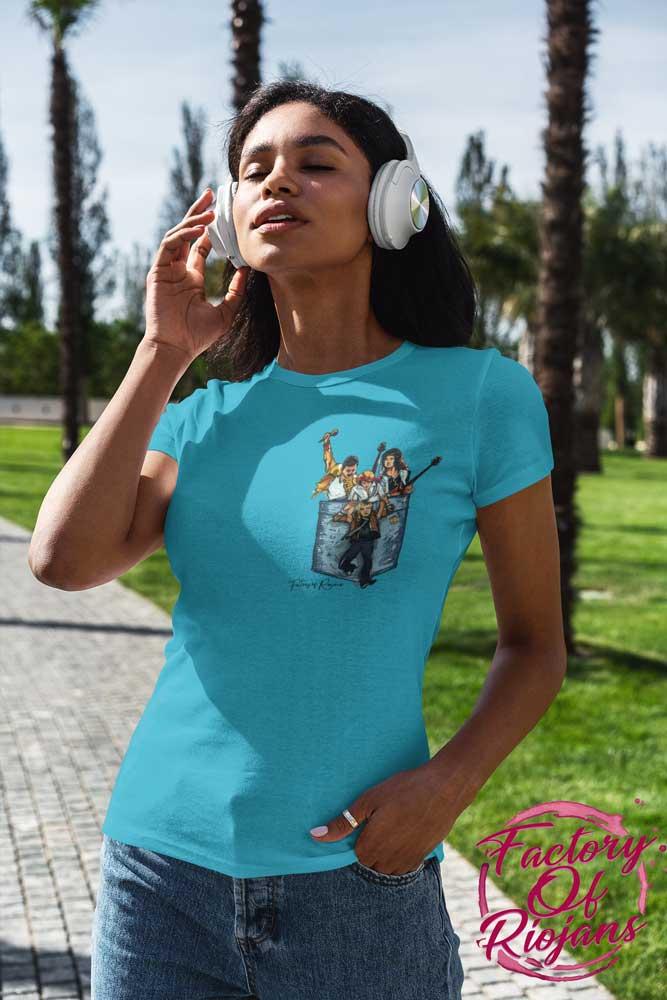 Camiseta azul para chica con diseño de Queen