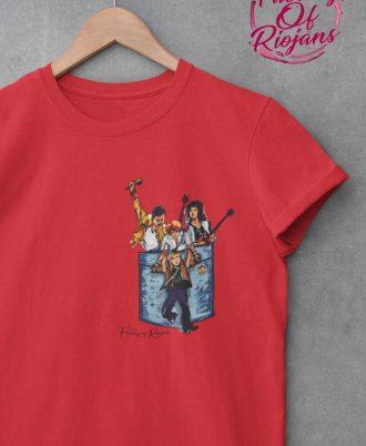 Camiseta roja de mujer con diseño de Queen