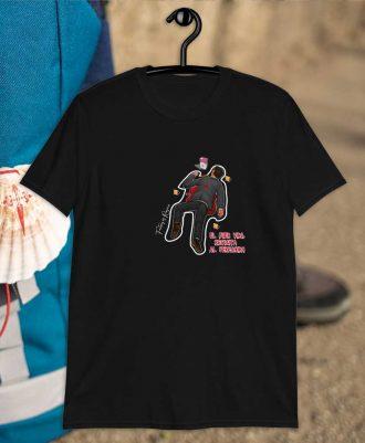 Camiseta negra con diseños del camino del Santiago