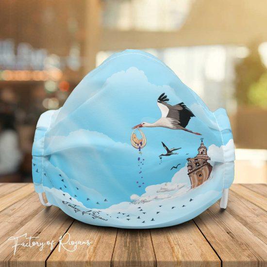 Mascarilla de diseño cigüeñas en La Redonda