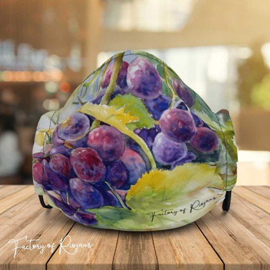 Mascarilla homologada con diseño de uvas