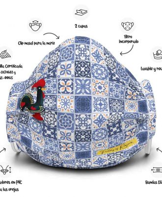Mascarilla reutilizable con azulejos
