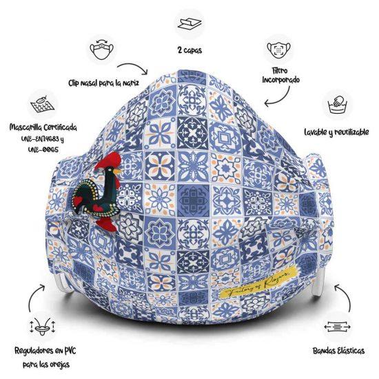 Mascarilla con azulejos de Portugal