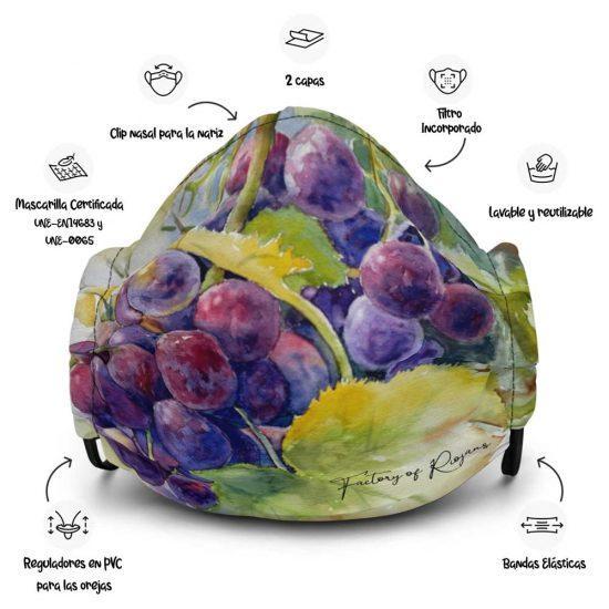 Mascarilla reutilizable con fondo de uvas