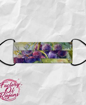 Mascarilla de diseño con fondo de uvas