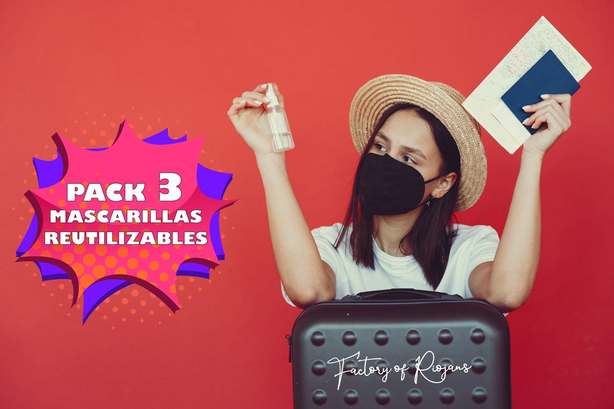 Pack de 3 Mascarillas Negras Reutilizables Unisex