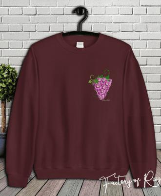 Sudadera corazón uvas en color granate