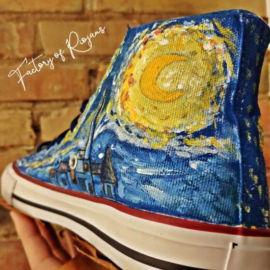 Zapatillas Noche Estrellada Pintadas a Mano