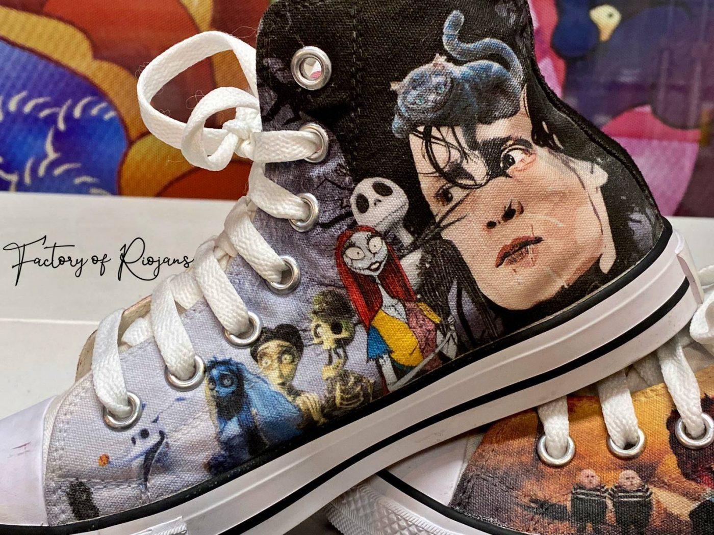 Zapatillas personalizadas de Tim Burton hechas en España (La Rioja)