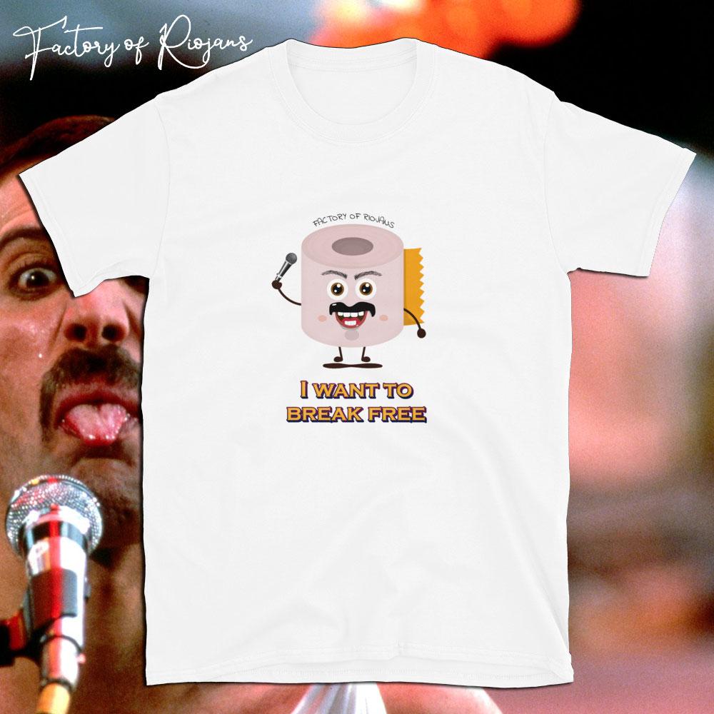 Camiseta unisex Freddie Break Free de color blanco