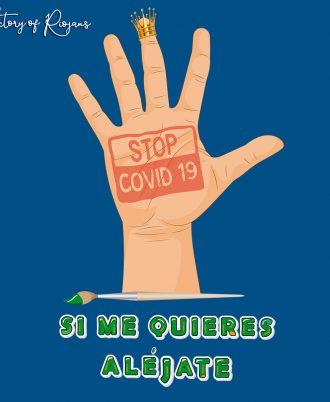 Camiseta unisex azul marino Stop covid-19