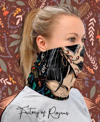 preciosas bragas de cuello para mujer con maquillaje estilo mexicano