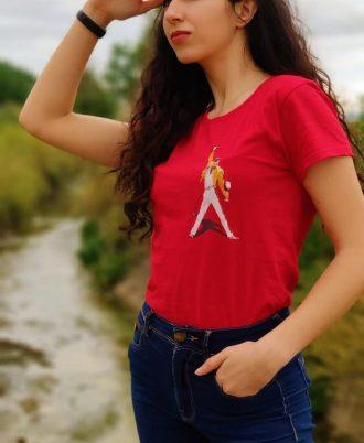 Camiseta roja de mujer con Freddie Mercury