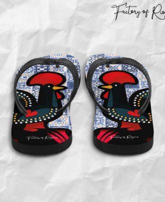 Chanclas originales con el gallo de Barcelos y azulejos de Portugal