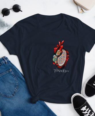Camiseta mujer original corazón azulejos