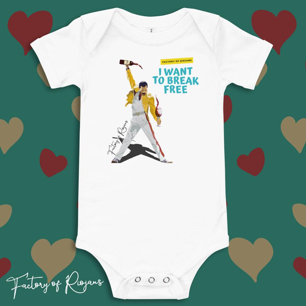 Ropa de bebé, body bebé color blanco con Freddie Mercury