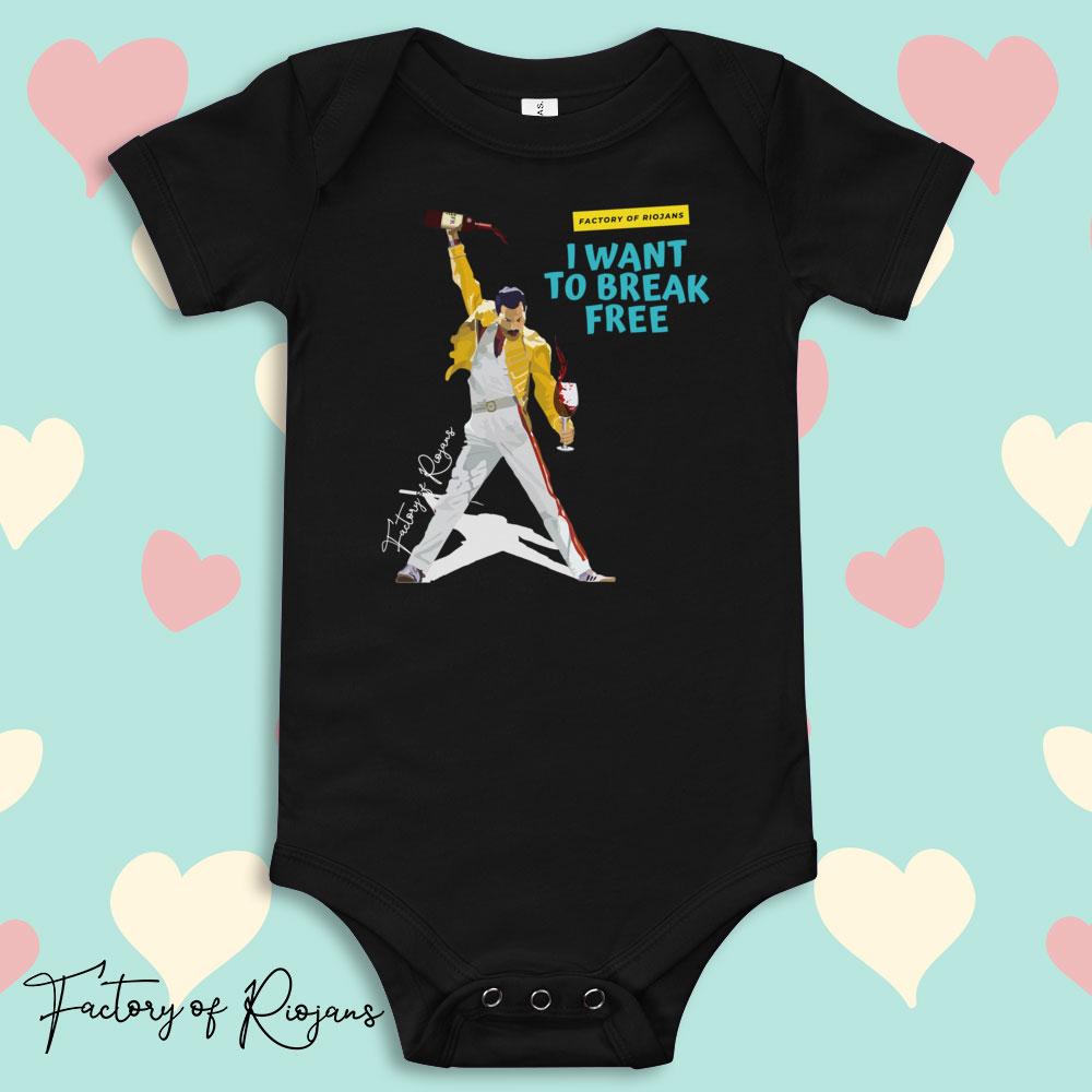 Ropa de bebé, body bebé color negro con Freddie Mercury