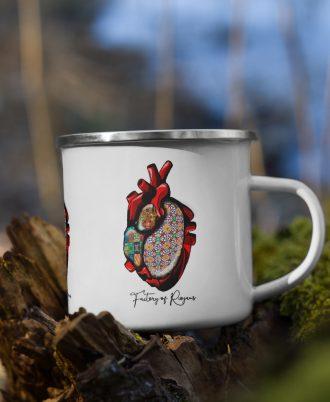 Taza de esmalte blanco con diseño corazón de Portugal