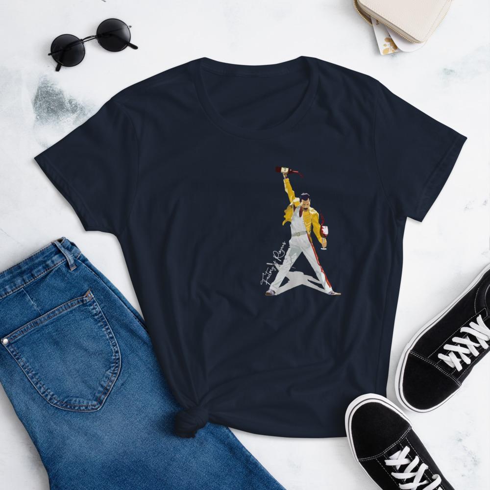 Camiseta manga corta para mujer con Freddie Mercury color azul marino