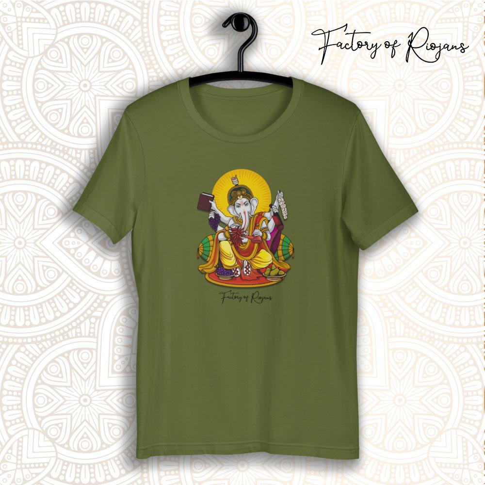 Camiseta verde oliva con Dios del vino
