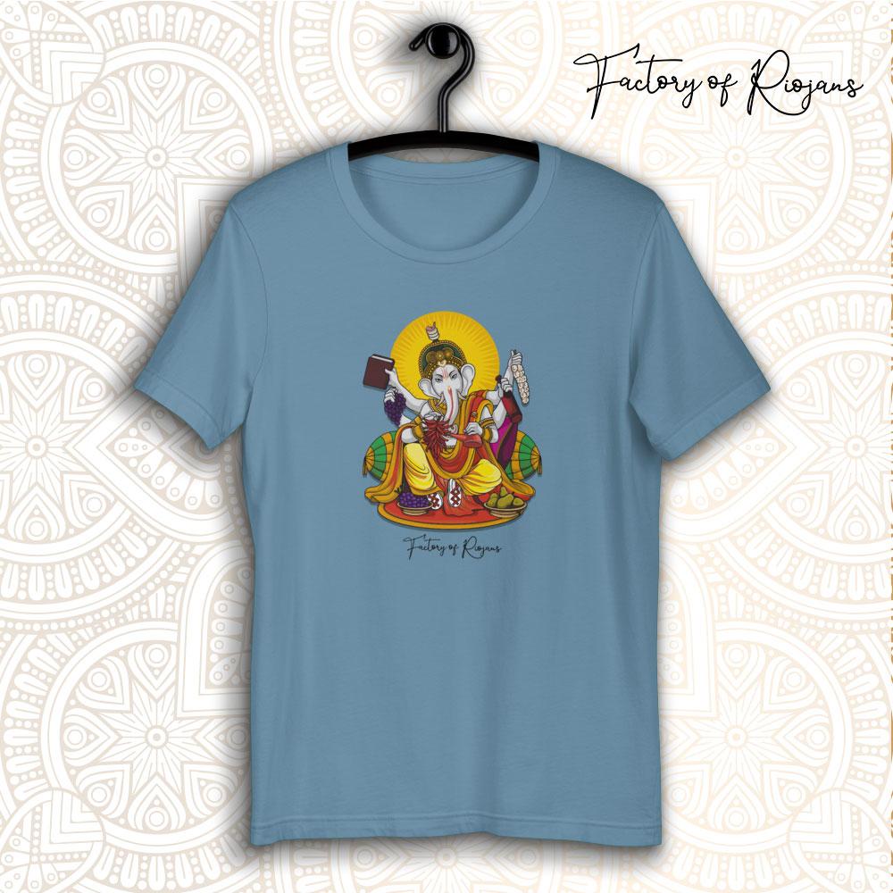 Camiseta tono azul con Dios del vino