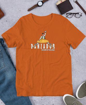 Camiseta naranja de La Rioja con danzador de Anguiano