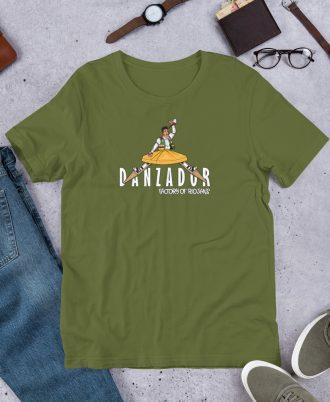 Camiseta verde oliva de La Rioja con danzador de Anguiano
