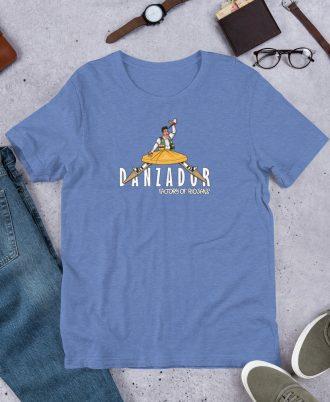 Camiseta azul de La Rioja con danzador de Anguiano