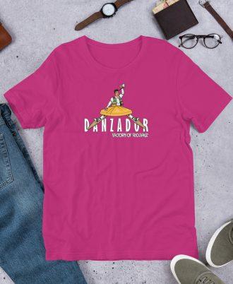 Camiseta rosa de La Rioja con danzador de Anguiano