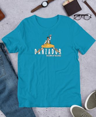 Camiseta azul claro de La Rioja con danzador de Anguiano