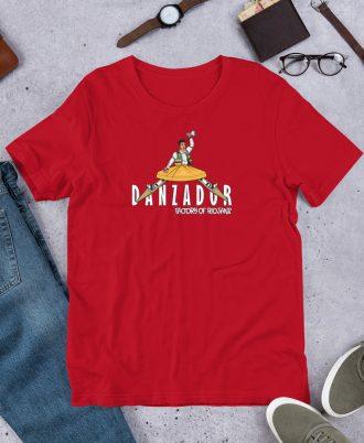 Camiseta roja de La Rioja con danzador de Anguiano