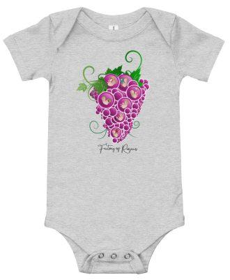 Body de bebé de color gris con Uvas
