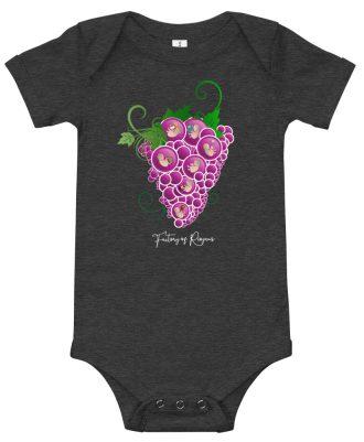 Body de bebé de color gris oscuro con Uvas