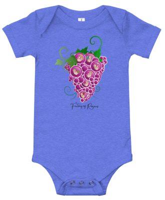 Body de bebé de color azul con Uvas