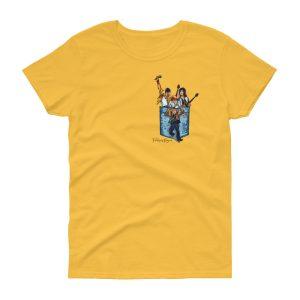 Camisetas mujer amarilla banda Queen