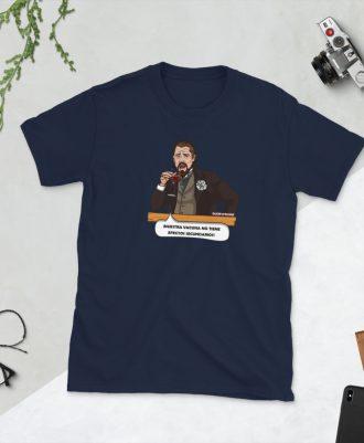 Camiseta azul marino con meme de Leonardo DiCaprio