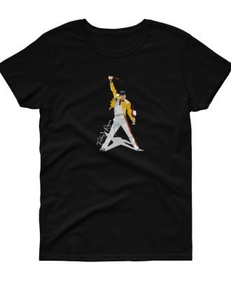 Camiseta negra para mujer con Freddie Mercury