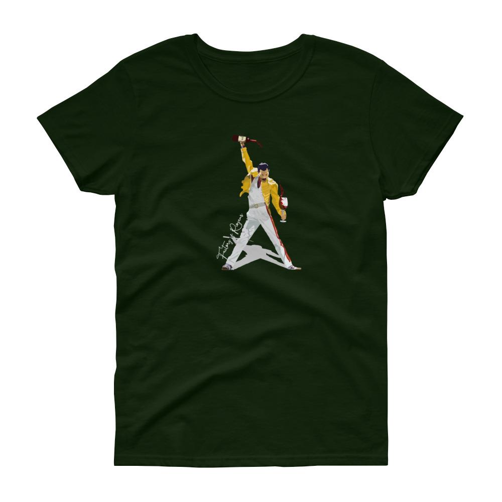 Camiseta verde oscuro para mujer con Freddie Mercury