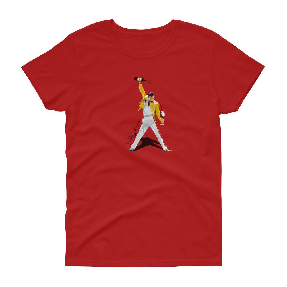 Camiseta roja para mujer con Freddie Mercury