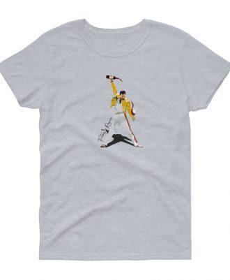 Camiseta gris deportivo para mujer con Freddie Mercury