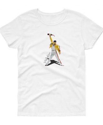 Camiseta blanca para mujer con Freddie Mercury