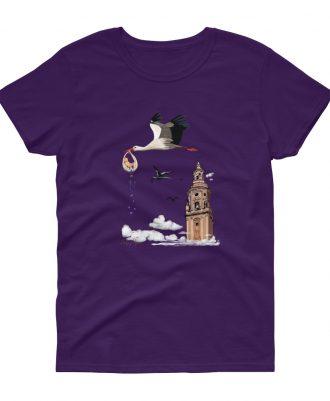 Camiseta malva con cigüeñas en la catedral