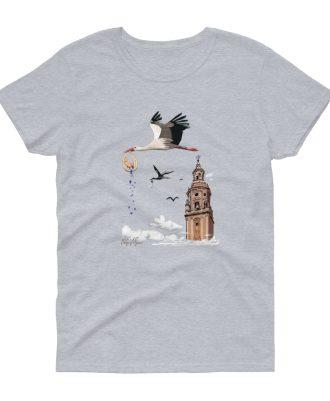 Camiseta gris para mujer con cigüeñas