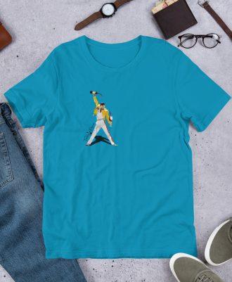 Camiseta azul premium con Freddie Mercury