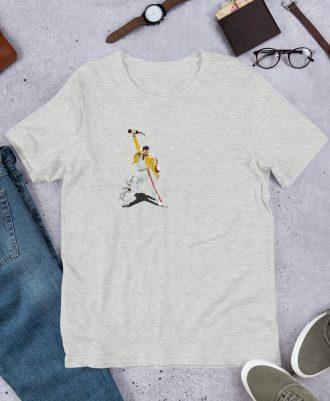 Camiseta gris deportivo premium con Freddie Mercury