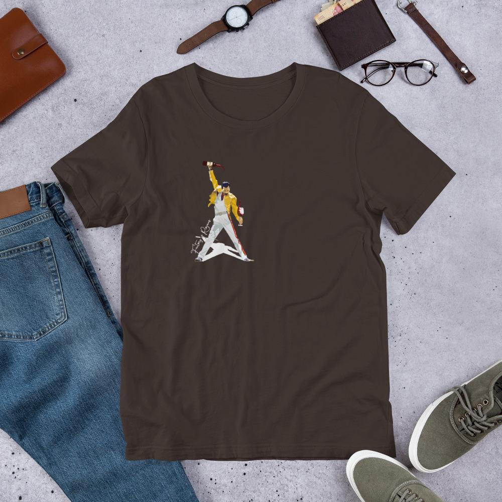 Camiseta marrón premium con Freddie Mercury