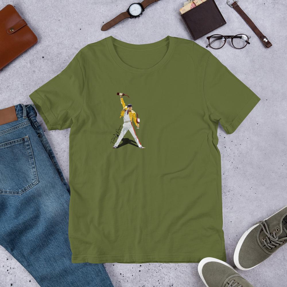 Camiseta verde oliva premium con Freddie Mercury