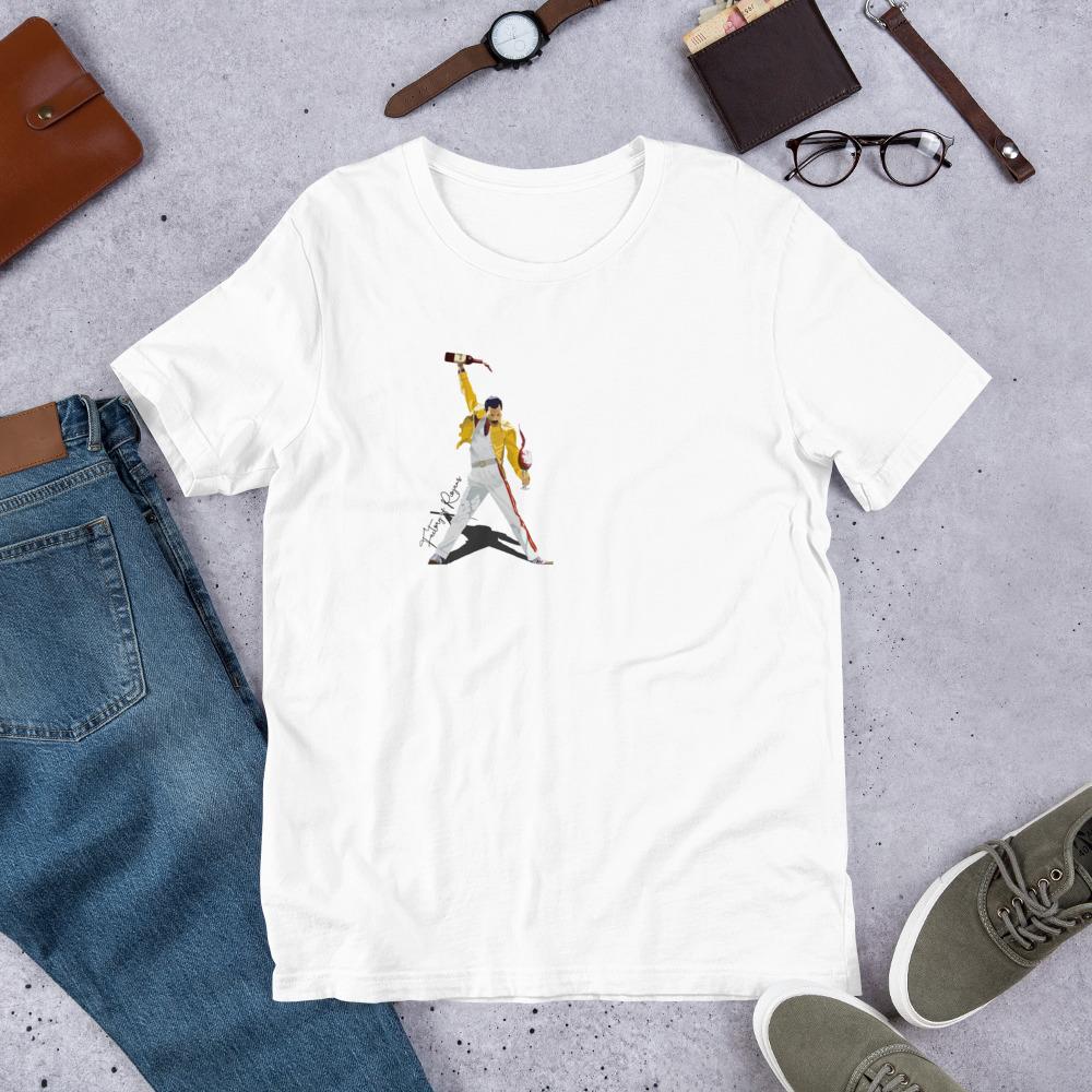 Camiseta blanca premium con Freddie Mercury